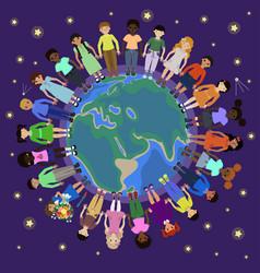 Children different nationalities round globe vector