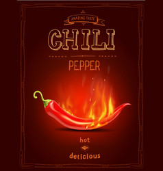 Chili pepper in fire hot sauce poster or logo vector