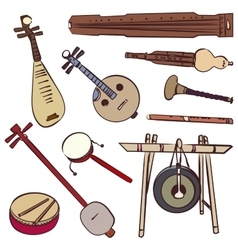 Chinese traditional musical instruments vector