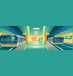 city subway underground station cartoon vector image