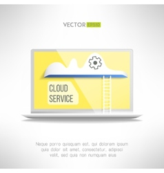 Cloud service icon on a notebook with a ladder vector image
