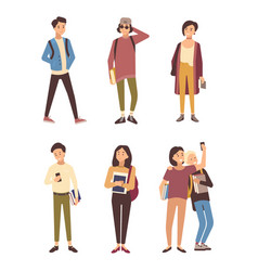 Collection of male and female students dressed in vector