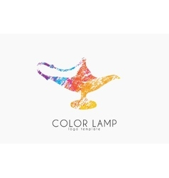 Color lamp logo Magic lamp Magic logo design vector