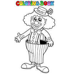 Coloring book with happy clown 2 vector
