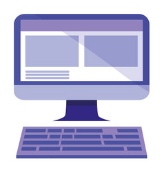 Computer with keyboard icon vector