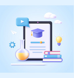 Concept mobile learning e-learning and online vector