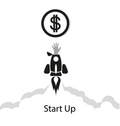 concept rocket hand startup business project vector image