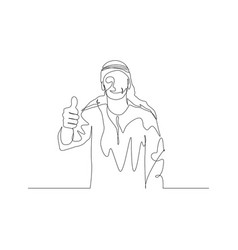 Continuous one line man in arabic clothes shows vector