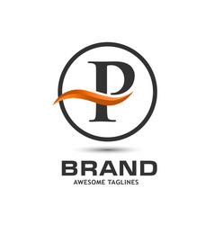 Corporate letter p swoosh logo vector