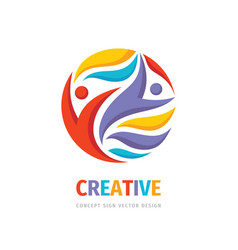 creative friendship people concept logo vector image