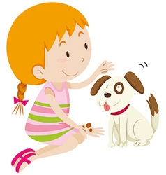 Cute girl feeding her pet dog vector image