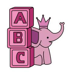Cute little elephant with blocks alphabet vector