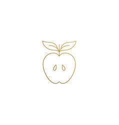 design half apple hand drawn vector image
