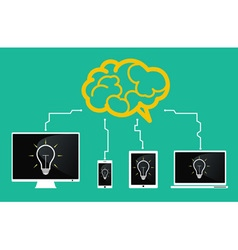 devices connect to brain vector image