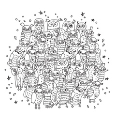 Doodles birds group black and white owls vector image
