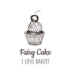 Fairy cake cupcake sketch lettering logo vector