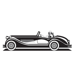 fashion model driving classic car vector image
