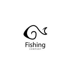 Fishing logo design icon template vector