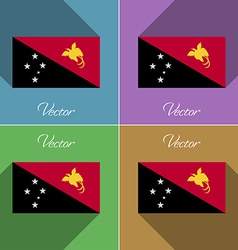 Flags Papua New Guinea Set of colors flat design vector image