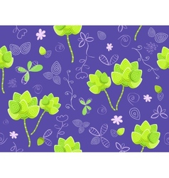 floral seamless pattern on violet background vector image