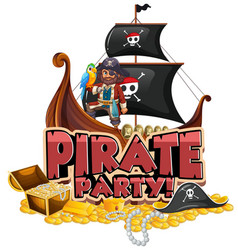 Font design for word pirate party with pirate and vector