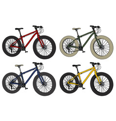 four color fatbikes vector image