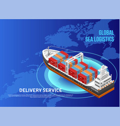 Freight ship over world map vector