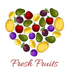 Fresh fruits poster with fruit heart shape vector