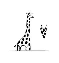 Giraffe in love funny sketch for your design vector