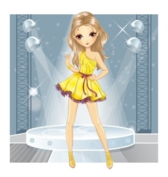 Girl In Gold Dress Dancing vector