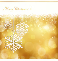 golden christmas snowflake background vector image