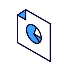 graph pie chart isometric icon vector image