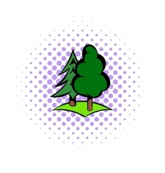 Green forest icon comics style vector image