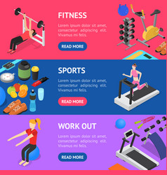 gym exercise equipment banner horizontal set vector image