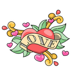 hand drawn heart wrapped in tape vector image