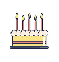 happy birthday sweet cake with burning candles vector image