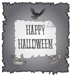 Happy Halloween inscription of bones and skulls vector image