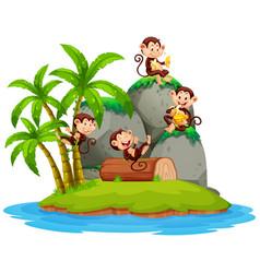 Happy monkey on isolated island vector