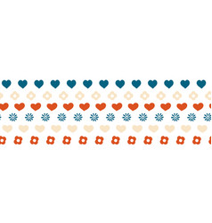 hearts and flowers border seamless hand vector image