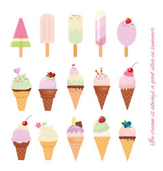 Ice cream cone and popsicle set isolated on white vector