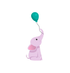 lovely pink baby elephant animal character with vector image