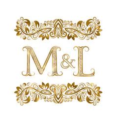 m and l vintage initials logo symbol letters vector image
