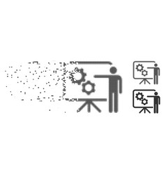 Mechanical gears project board disintegrating vector