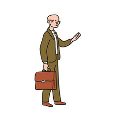 old cartoon businessman in business suit and vector image