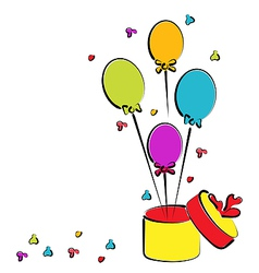Open gift box with balloons for your birthday vector