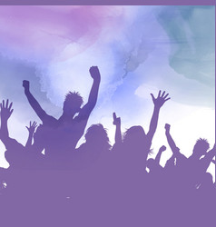 Party crowd on a watercolour background vector