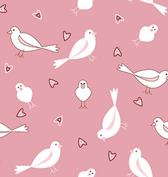 Pink and white seamless bird pattern vector image