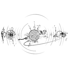 planet system in black vector image