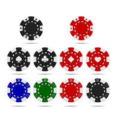 poker chips set isolated on white background vector image