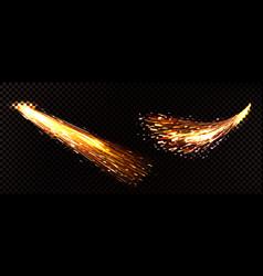 Realistic fire sparks metal welding vector